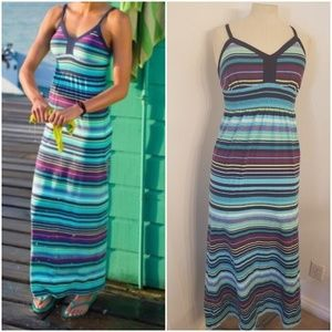 Athleta Byzantine Maxi Dress Geo Striped Sz M